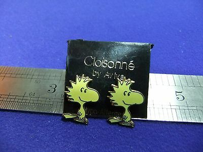 vtg snoopy woodstock earrings enamel on card 1970s peanuts schulz unused