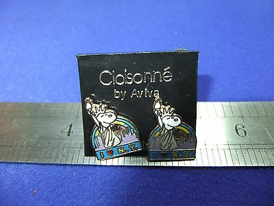 vtg snoopy new york liberty earrings enamel on card 1970s peanuts schulz unused