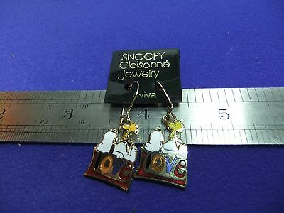 vtg snoopy woodstock love earrings enamel on card 1970s peanuts schulz unused