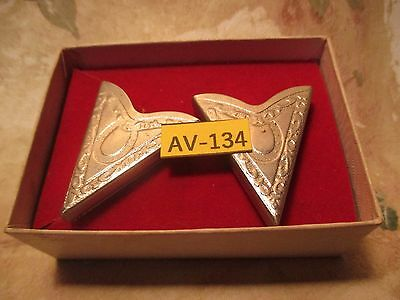 Vintage Old Store Inventory Silver Metal Collar Tips In Box by ROCKMOUNT Denver