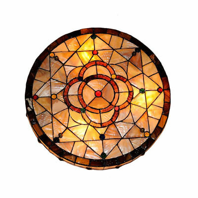 Vintage Tiffany Style Stained Glass Big Flush Mount Ceiling Light  Lamp Fixture