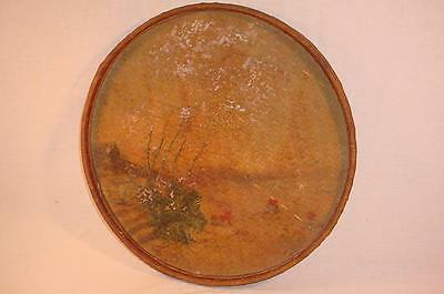 Vtg Hand Painted 19 Inch Oriental Chinese Japanese Bamboo Rice Winnowing Basket