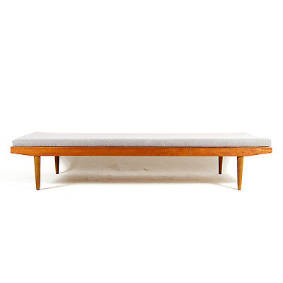 Retro Vintage Danish Teak Wool Bench Daybed Sofa Bed Chaise Lounge 60s 50s 70s