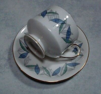 """Royal Standard Cup & Saucer SUPER Retro 60s China with Blue Mint & Gold """"Trend"""""""