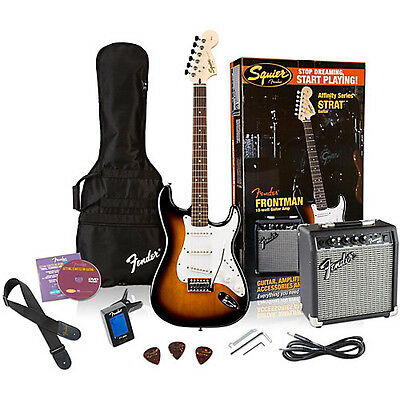 Squier Affinity Stratocaster Electric Guitar Pack with Fender 10G Amplifier  NEW