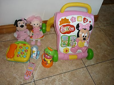 Bundle PINK Toddler Toys  1st Steps Walker  Phone  Piano  Pull Along  MORE