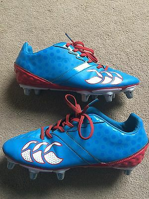 Canterbury Of New Zealand men's blue size 7 uk, rugby boots, leather metal studs