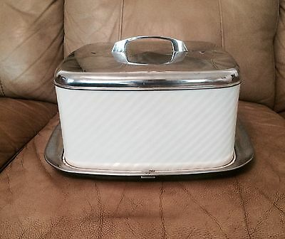 1950s  Vintage Lincoln Beautyware Stainless  / White Sq Latching Cake Carrier