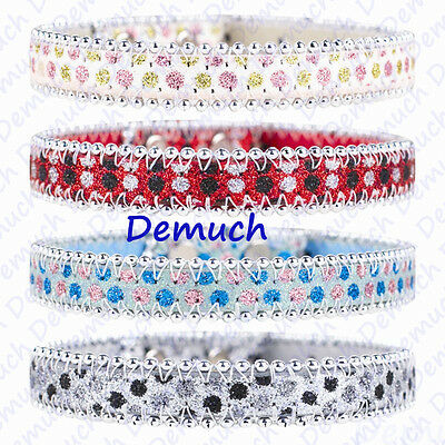 New Sparkly Dog Collar Assorted Design White Blue Red Grey LARGE SMALL SIZE UK✔