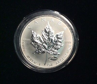 2000 HANNOVER EXPO PRIVY MARK CANADA 1oz $5 .999 PURE SILVER MAPLE LEAF COIN