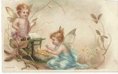 Art Nouveau - Beautiful Angel Children With Remington Typewriter - Advertising
