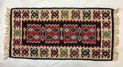 Small Hand-Woven Kilim Rug, 20x40, Unique Design, Red Black Ivory   (RF525)