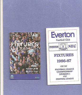 2 x EVERTON FC  SMALL FIXTURE LISTS BOOKLETS  1986/87 & 2003/04  NEW CONDITION