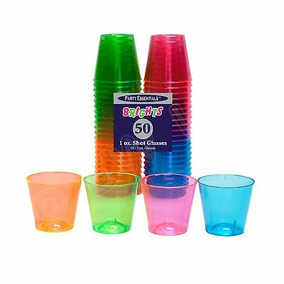 Party Essentials Hard Plastic 1-Ounce Shot Glasses, 50-Count, Assorted Neon New