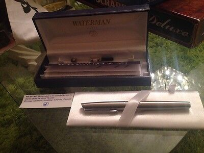 NEW Boxed Waterman Paris 2002 Quality Stainless Steel Fountain Pen & Cartridge