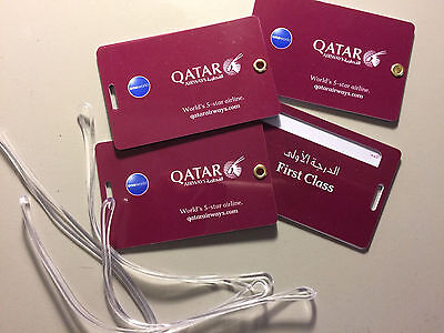 NEW Qatar Airways Durable First Class OneWorld Luggage Tags 3x Reusable