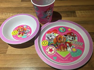 BRAND NEW Paw Patrol Childrens Dinner Set Pink Cup Bowl Plate
