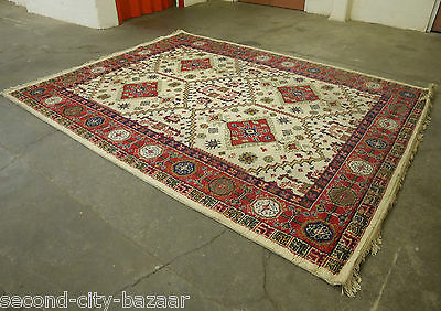 Large 12 x 9 foot Vintage Asian Mid Century Handmade Pure Wool Indian Carpet Rug