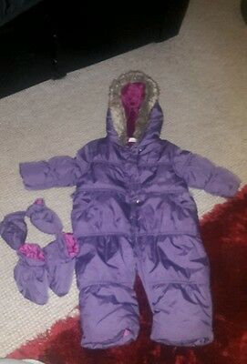 baby girl all in one coat/ snow suit age 6-9 months mini club