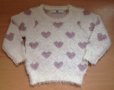 Baby Girl Age 12-18 Months Heart Jumper ~ Marks And Spencer