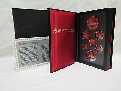 1986 Royal Canadian Mint Proof Set Double Silver Dollar 7 Coin 100th Anniversary