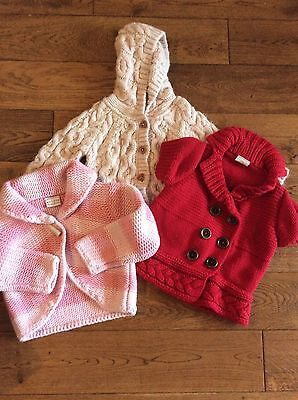 3/bundle Girls next/Marks And Spencer Cardigans 3-4 Years Pink/red