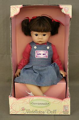 "MIDDLETON Doll Savannah 19"" Brunette #92375 Brown Eyes Washable New In Box"