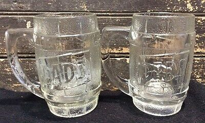Vtg Pair Lot 2 DAD'S ROOT BEER 50s 60s Soda Barrel 12oz Heavy Clear Glass Mug
