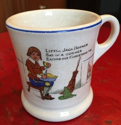 Vtg Childs cup Mug Stubenville China NURSERY RHYME Little Jack Horner Christmas