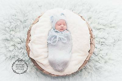 Handmade Baby Blue Bonnet & Snuggle Sack Cocoon Photography Photo Prop Newborn