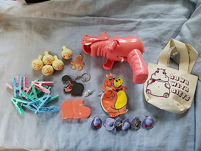 lot of Hippo items clothes pins, key chains, squirt gun, tape dispender, stamps