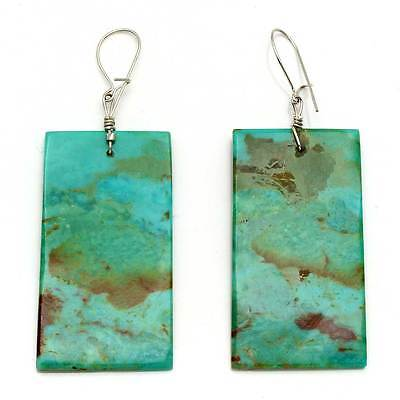 Turquoise Rectangular Slab Earrings By Cate