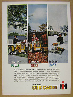 1963 IH International Harvester CUB CADET Tractor color photos vintage print Ad