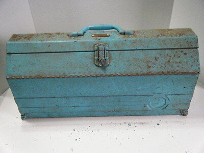 Vintage Blue Chippy Paint Tool Box Property of Miller Electric + Insert Tray