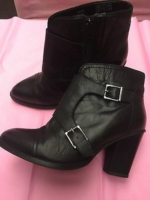 ladies black leather boots size 6