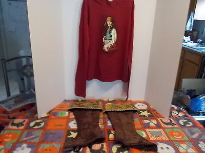 Walt Disney Child's L Hoodie W Jack Sparrow And Pirate Boot Covers New