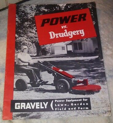 1956 Gravely Tractor Farm Manual Brochure Power vs Drudgery w/Attachments