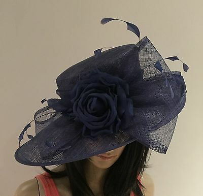 NIGEL RAYMENT NAVY BLUE WEDDING ASCOT Hat Occasion Hat MOTHER OF THE BRIDE