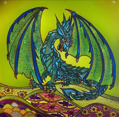 Green Dragon. Stained glass Dragon hand painted on toughened glass. Splashbacks