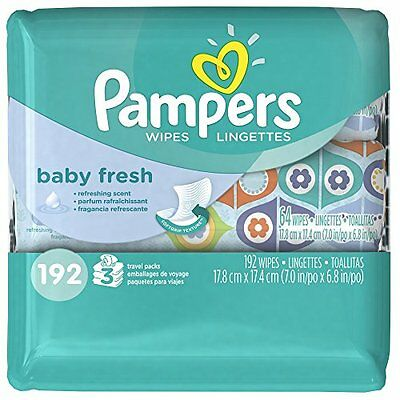 Pampers Baby Fresh Wipes 3x Travel Pack, 192 Count...NEW