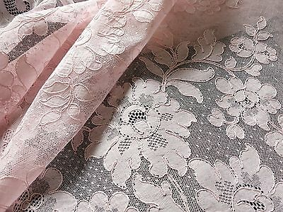 "PINK Vtg French ALENCON LACE Round Tablecloth 66"" Floral Scallops PRETTIEST EVER"