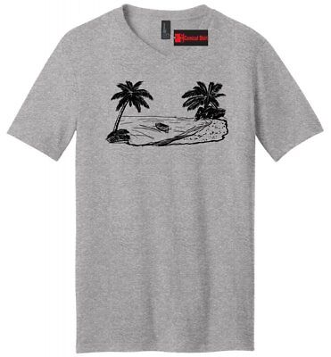 efe22467a89 Beach Scene Graphic Mens V-Neck T Shirt Vacation Cruise Island Summer Party  Tee