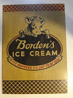 Vintage Bordens Ice Cream Sign Hard board Double Sided Elsie