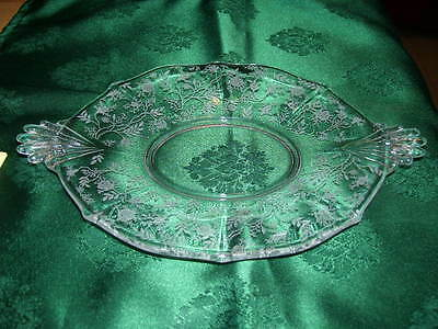 """Vintage Fostoria Chintz Etched Glass 10"""" Oval Plate"""