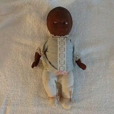 """Antique Baby Composition Doll Black African American 10"""""""
