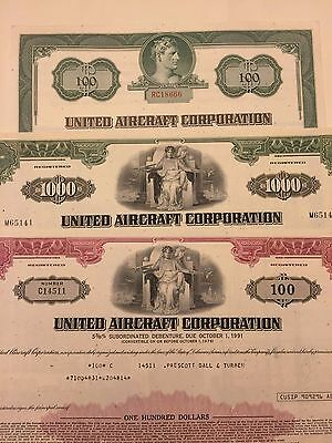 3 Different United Aircraft Corp Stock Certificates United Technologies Now UTC