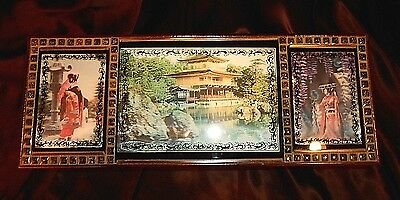 VTG JAPANESE LACQUER 3-D GEISHA HOLOGRAM JEWELRY MUSIC BOX w MAGNET BALLERINA