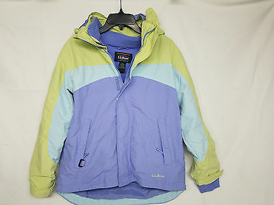 LL Bean Kids Large 14-16 zippered Jacket Detachable Hood Fleece Lined Warm!