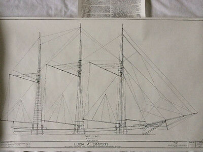 Smithsonian Ship's Blueprints - LUCIA A. SIMPSON - HAMMS - 3 Masted Schooner