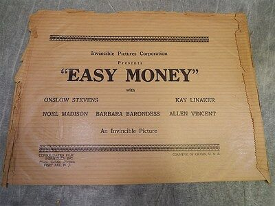 1936 EASY MONEY Sack or Bag for Press kit, or Photos or poster~RARE